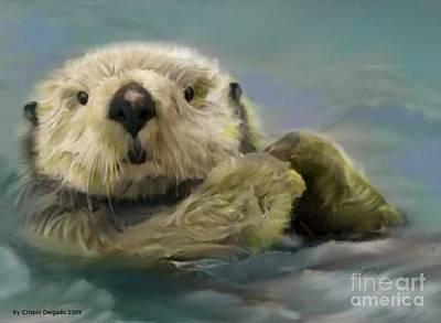 Otter Digital Art - Sea Otter by Crispin  Delgado