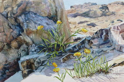 Sea Rock Posies Print by Karol Wyckoff