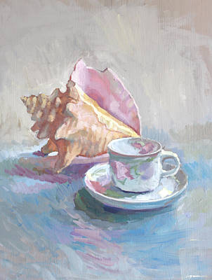 Shell Pastel Painting - Sea Shell And Tea Cup by Jenay Elder