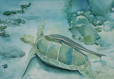Sea Turtle And Friend Print by Mary Benke