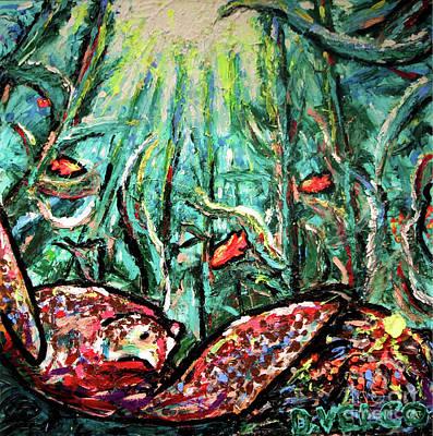 Sea Turtle And Garibaldi Print by Dennis Velco