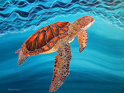Turtle Painting - Sea Turtle by Debbie Chamberlin