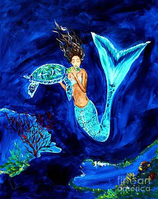 Mermaid Painting - Sea Turtle Kiss by Leslie Allen