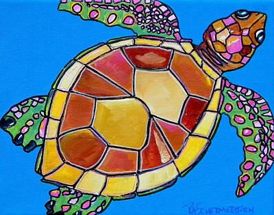 Ocean Turtle Painting - Sea Turtle by Patti Schermerhorn