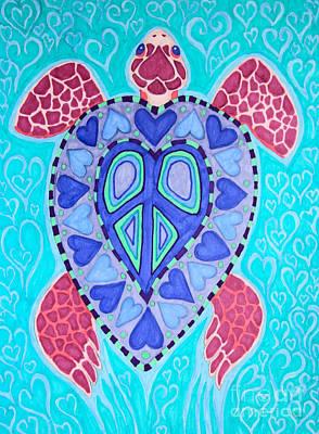 Sea Turtles Drawing - Sea Turtle Peace by Nick Gustafson