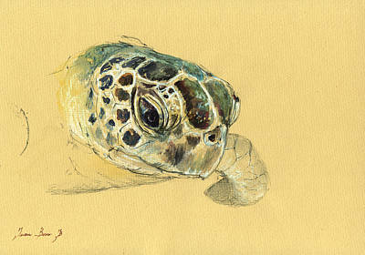 Sea Turtle Watercolor Print by Juan  Bosco