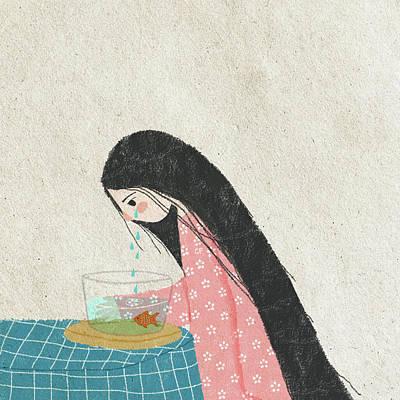 Tear Drawing - Sea Water by Carolina Parada