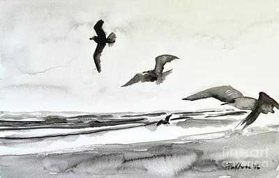 Painting - Seabirds In Black And White by Julianne Felton