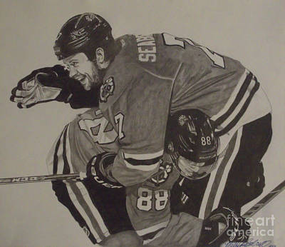 Hockey Drawing - Seabs Scores The Winner by Melissa Goodrich