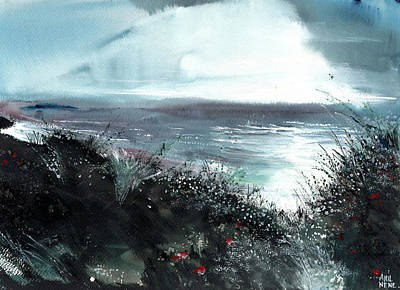 Abstract Beach Landscape Drawing - Seaface by Anil Nene
