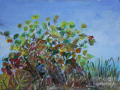 Landscape Painting - Seagrapes At Key West - Plein Air by Donna Walsh