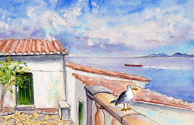 Seagull Drawing - Seagull In Cap De Formentor by Miki De Goodaboom