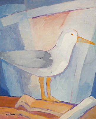 Handpainted Painting - Seagull On The Roof by Lutz Baar