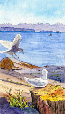 Seagulls And Driftwood Original by Wendy Mould
