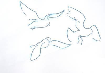Seagulls Line Illustration Original by Mike Jory