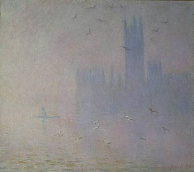 Fog Painting - Seagulls Over The Houses Of Parliament by Claude Monet