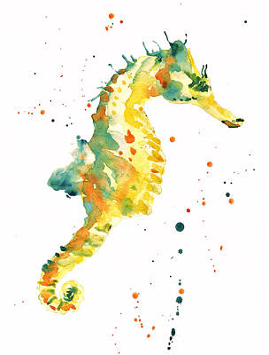 Watercolor Painting - Seahorse  - Yellow Seahorse by Alison Fennell