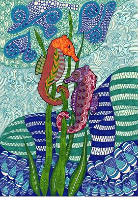 Seahorse Drawing - Seahorses In The Waves by Sharon White