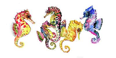 Seahorse Drawing - Seahorses by Suren Nersisyan
