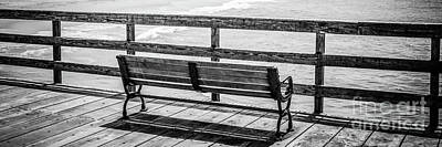 Seal Beach Pier Bench Black And White Photo Print by Paul Velgos