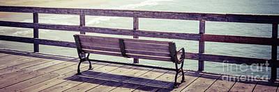 Seal Beach Pier Bench Panorama Photo Print by Paul Velgos