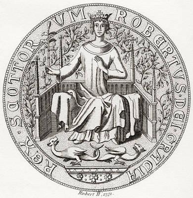 Seal Of Robert II, Aka The Steward, 1316 Print by Vintage Design Pics