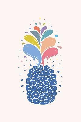 Pineapple Drawing - Seapple by Mustafa Akgul