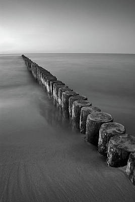 Blue Photograph - Seascape Art - Wooden Groyne - Black And White Photography by Wall Art Prints