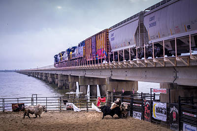 Of Rodeo Bucking Bulls Photograph - Seascape Bsl E60a by Otri Park