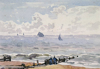 Drift Boat Painting - Seascape From The Beach by Thomas Churchyard