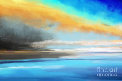 Cloudscape Drawing - Seascape Painting by Jan Brons