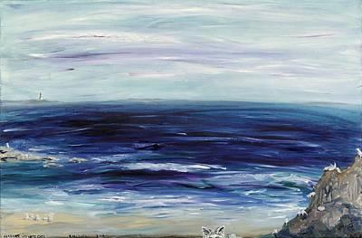 Seascape With White Cats Print by Regina Valluzzi