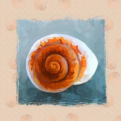 Seashell II Grunge With Border Print by Jai Johnson