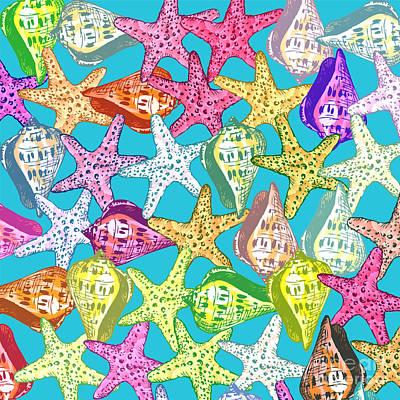 Seashells And Sea Stars Print by Gaspar Avila