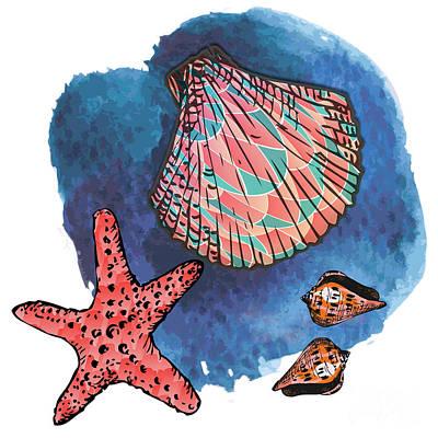Seashells And Starfish Print by Gaspar Avila