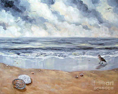 Sand Dollar Painting - Seashells In The Gray Dawn by Laura Iverson