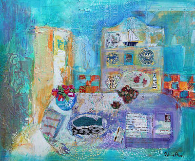 Blue Table Painting - Seaside Kitchen by Sylvia Paul
