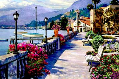 Docks And Boat Painting - Seaside Pathway by Ron Chambers