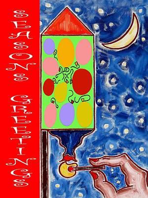 Fireworks Mixed Media - Seasons Greetings 60 by Patrick J Murphy