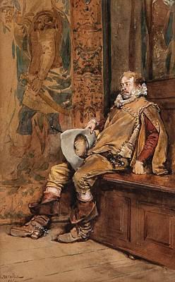 Jean-baptiste Edouard 1848-1912 Painting - Seated Cavalier by Edouard Jean Baptiste
