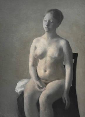 Of Nudes Painting - Seated Female Nude by Vilhelm Hammershoi