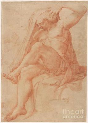 1596 Painting - Seated Male Figure by Pellegrino Pellegrini