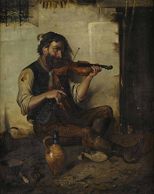 Performance Painting - Seated Man With Violin by Celestial Images