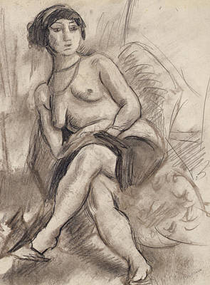 Seated Nude Model Print by Jules Pascin