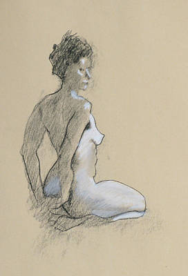 Seated Nude Print by Robert Bissett
