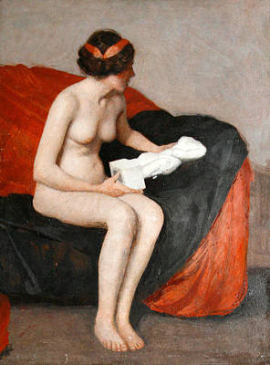 William Mcgregor Paxton Painting - Seated Nude With Sculpture by William McGregor Paxton