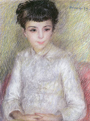 Youthful Pastel - Seated Portrait Of A Young Girl With Brown Hair by Pierre Auguste Renoir