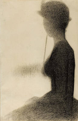 Crayons Drawing - Seated Woman With A Parasol Study For La Grande Jatte by Georges-Pierre Seurat
