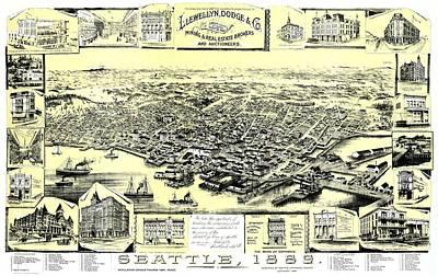Seattle Drawing - Seattle 1889 by Mountain Dreams