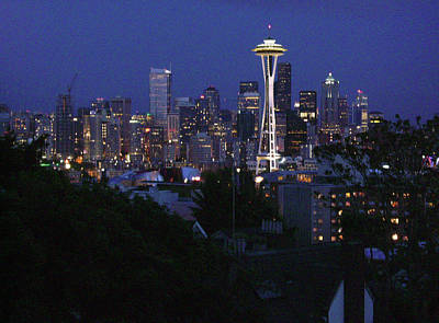 Seattle Skyline Painting - Seattle At Night by Edward Coumou